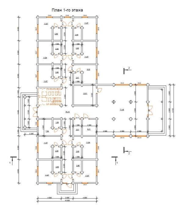 Проект гостиницы со сруба 050 (750 м.кв.)
