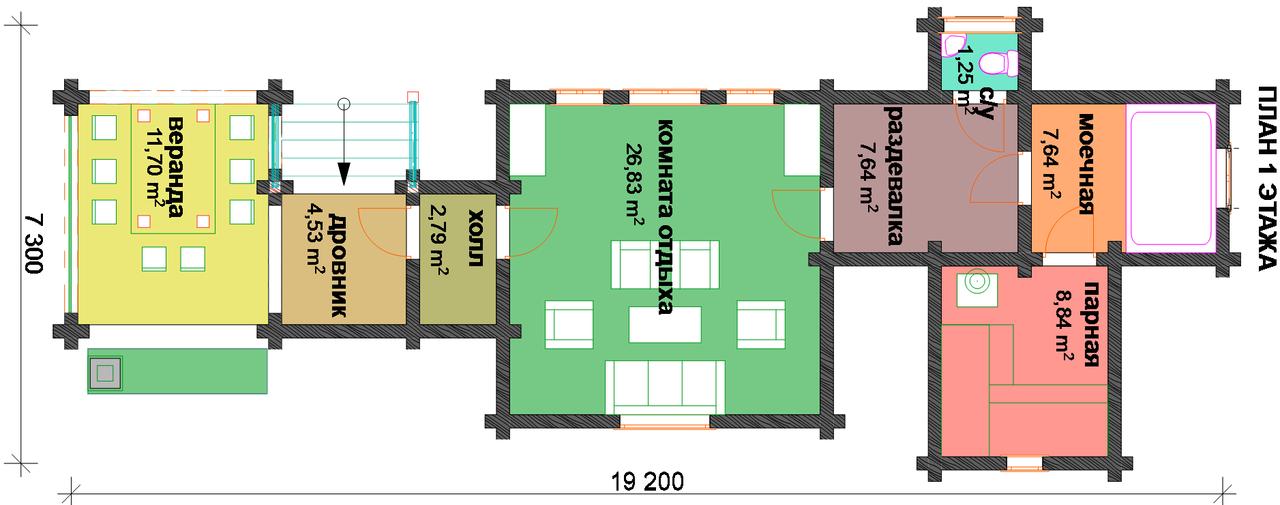 Баня с барбекю 080 (71 м. кв.)