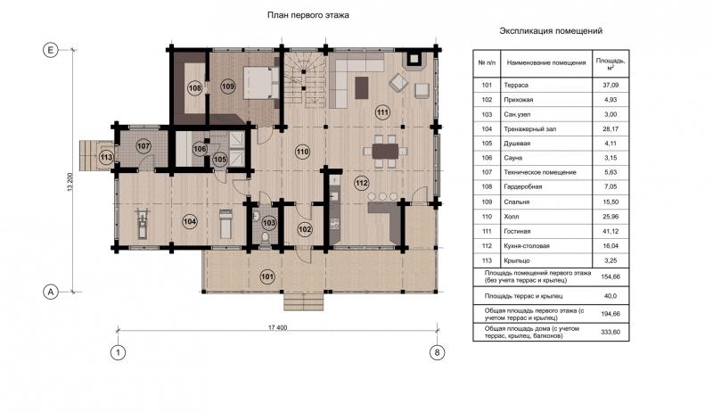 Проект коттеджа 001 (259 м. кв.)