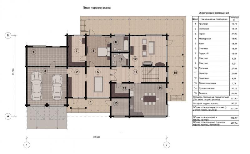 Проект коттеджа 003 (428 м. кв.)